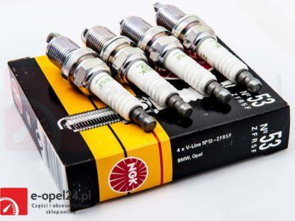 Komplet świec NGK V-line 53 ZFR5F - 94301-Opel Agila A / Astra G H / Corsa C D / Insignia / Meriva A / Tigra B / Signum / Vectra C / Zafira A B - 1214120 / 95519058