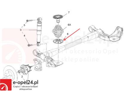 Schemat - Podkładki pod sprężyny Opel Meriva A B / Astra H Combi / Zafira B / Vectra C / Signum - 424761 / 90538496