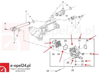 Rysunek - Termostat z obudową do silników 1.6 1.8 Opel Astra H / Signum / Vectra C / Zafira B / Insignia - 1338178 / 55577072