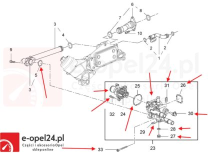 Rysunek - Kompletny termostat z obudową do silników 1.6 1.8 Opel Astra H / Signum / Vectra C / Zafira B / Insignia - 1338178 / 55577072