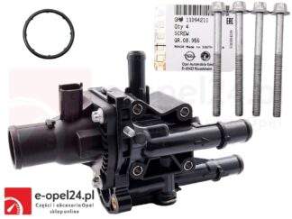 Kompletny termostat układu chłodzenia w zestawie z obudową, śrubami, uszczelkami oraz czujnikami temperatury Opel Astra H III J IV / Mokka / Insignia A / Signum / Zafira B C 1.6 1.8 - 1338177 / 55577073