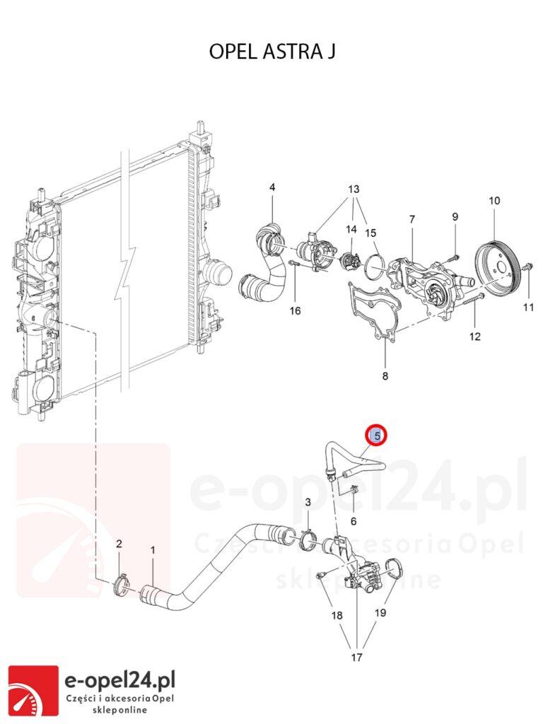 Oryginalny wąż płynu chłodzącego łączący termostat z zbiorniczkiem wyrównawczym Opel Astra IV J - 1336368 / 13251471