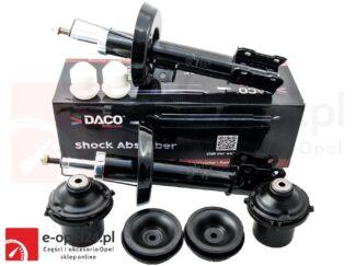Komplet przednich amortyzatorów lewy i prawy firmy DACO z odbojami, poduszkami oraz łożyskami Opel Astra G II - 453607 / 453608