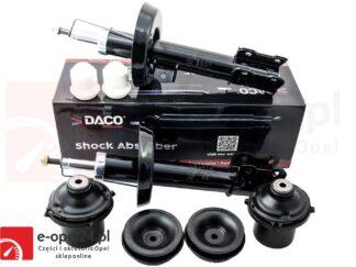 Amortyzatory przód firmy Daco Opel Astra G II w zestawie z odbojami poduszkami oraz łożyskami