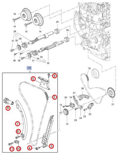 Zestaw oryginalnego rozrządu Opel Astra J / Insignia A- 2.0 - 0636260 / 12635447
