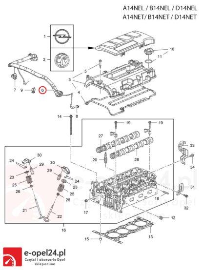 Oryginalny przewód podciśnienia / odma do silników 1.4 Opel Astra J / Cascada / Meriva B / Mokka X / Zafira C - 0652337 / 25193343