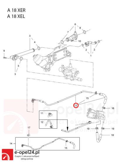 Oryginalny przewód łączący obudowę termostatu z przepustnicą Opel Insignia A / Mokka X / Zafira C 1.8 - 0826005 /25192905