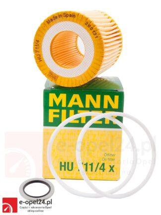 Filtr oleju Mann HU 711/4 X wraz z uszczelką korka spustowego- Opel Astra H III / Signum / Vectra C / Zafira B 1.9 CDTI - 56 50 354 / 93183412 652259 / 93183670