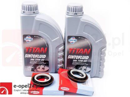 Zestaw uszczelniaczy półosi oraz olej przekładniowy FUCHS TITAN SINTOFLUID SAE 75W-80 2L do skrzyni manualnej 6 - biegowej F40 oraz M32 - Opel Astra J IV / Insignia A - 1940182