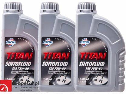 Olej przekładniowy FUCHS TITAN SINTOFLUID SAE 75W-80 3L do skrzyni manualnej 6 - biegowej F40 oraz M32 - Opel Astra H / Signum / Vectra C / Zafira B -1940182