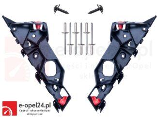 Komplet ślizgów lewy + prawy wraz z nitami i wkrętami do zderzaka przedniego - Opel Corsa D - 1406207 / 13179960 / 1406208 / 13179961