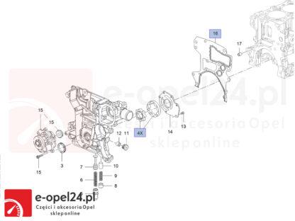 Oryginalny zestaw naprawczy pompy olejowej + uszczelka pod płytę rozrządu firmy Hans Pries Opel Astra H J / Insignia A / Signum / Vectra C / Zafira B C -1.6 /.18 -646082 / 5638611