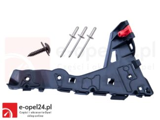 Prawy ślizg zderzaka przedniego w zestawie z nitami i wkrętem Opel Astra H - 1406548 / 24460284