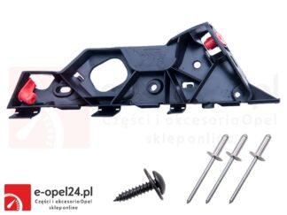 Zestaw ślizgu zderzaka przedniego wraz z nitami i wkrętem - lewy - Opel Corsa D - 1406207 / 13179960