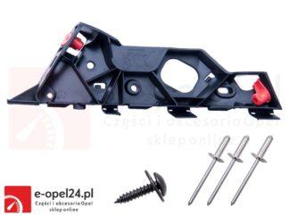 Zestaw ślizgu zderzaka przedniego wraz z nitami i wkrętem - prawy - Opel Corsa D - 1406208/ 13179961