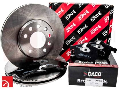 Zestaw tarcz oraz klocków hamulcowych na przednią oś firmy DACO Opel Astra G II H III / Zafira A B – 1.2 / 1.4 / 1.6 / 1.8 / 1.9 / 2.0 / 2.2 – 1605992 / 569066