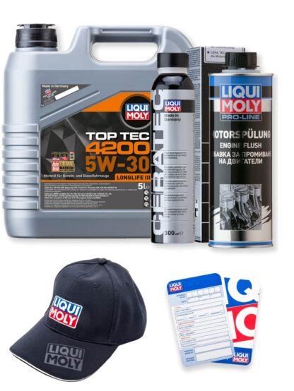 ZESTAW: Olej 5W-30 TOP TEC 4200 5l, płukanka silnika Pro-Line Engine Flush oraz ceramizer Cera Tec LIQUI MOLY + GRATIS czapka i zawieszka - 8973 / 2662 / 7181