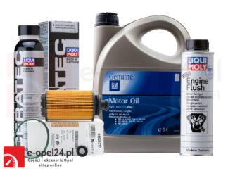 Zestaw oryginalnego filtra oleju GM, 5L oleju GM 5W-30, płukanka Liqui Moly Engine Flush i ceramizer Cera Tec Opel Antara / InsigniaA B / Zafira C - 2.0 CDTI - 95528277 / 2316 / 2640 / 7181