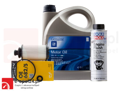 Zestaw filtra oleju Filtron, 5L oleju Liqui Moly Top Tec 4600 5W-30 i płukanka Liqui Moly Engine Flush Opel Antara / Insignia A B / zafira C - 2.0 CDTI - 95528277 / 2316 / 2640