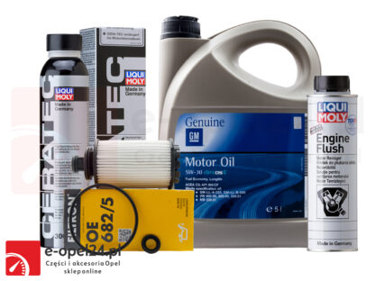 Zestaw filtra oleju Filtron, 5L oryginalnego oleju GM, płukanka Liqui Moly Engine Flush i ceramizer Cera Tec - Opel Antara/ Insignia A B / Zafira C - 2.0 CDTI - 95528277 / 19 42 003 / 2640 / 7181