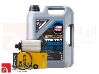 Zestaw filtra oleju Filtron i 5L oleju Liqui Moly Top Tec 4600 5W-30 Opel Antara / Cascada / Insignia A B / Zafira C - 2.0 - 95528277 / 2316