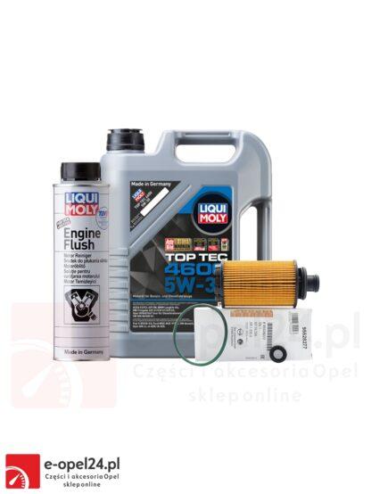 Zestaw oryginalnego filtra oleju GM, 5L oleju Liqui Moly Top Tec 4600 5W-30 i płukanka Liqui Moly Engine Flush Opel Antara / Cascada/ Insignia A B / Zafira C - 2.0 CDTI - 95528277 / 2316 / 2640