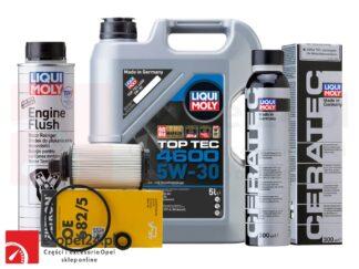 Zestaw filtra oleju Filtron, 5L oleju Liqui Moly Top Tec 4600 5W-30, płukanka Liqui Moly Engine Flush i ceramizer Cera Tec - Opel Antara / Cascada / Insignia A B / Zafira C – 2.0 – 95528277 / 2316 / 2640 / 7181