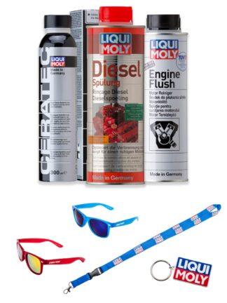 Zestaw preparatów Liqui Moly do oczyszczenia wtrysków i ochrony silnika: Diesel Spulung, Engine Flush, Cera Tec + wybrany GRATIS - 2666 / 2640 / 7181