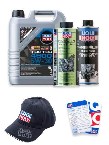 ZESTAW: olej 5W-30 TOP TEC 4600 5l, płukanka silnika Pro-Line Engine Flush oraz dodatek chroniący silnik MOLYGEN LIQUI MOLY + czapka i zawieszka - 2316 / 2662 / 1015