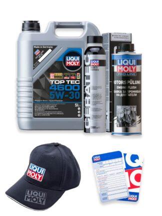 ZESTAW olej 5W-30 TOP TEC 4600 5l, płukanka silnika Pro-Line Engine Flush oraz ceramizer Cera Tec LIQUI MOLY + czapka i zawieszka - 2316 / 2662 / 7181