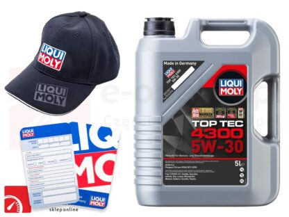 Olej syntetyczny Liqui Moly Top Tec 4300 5W-30 5L + Gratis czapka Liqui Moly oraz zawieszka serwisowa