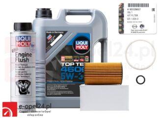 Oryginalny filtr oleju GM wraz z uszczelkami, 5l oleju Liqui Moly Top Tec 4600 5W30 i płukanka Engine Flush Opel Astra J K / Insignia A B / Meriva B / Mokka X / Zafira C - 1.6 CDTI - 650163 / 95526687