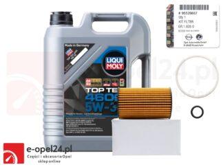 Oryginalny filtr oleju GM i 5l oleju Liqui Moly Top Tec 4600 5W30 Opel Astra J K / Insignia A B / Meriva B / Mokka X / Zafira C - 1.6 CDTI - 650163 / 95526687