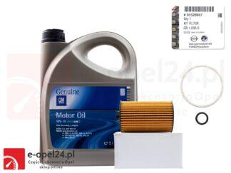 Oryginalny filtr oleju GM wraz z uszczelkami i 5l oleju GM 5W30 Opel Astra J K / Insignia A B / Meriva B / Mokka X / Zafira C - 1.6 CDTI - 650163 / 95526687 / 19 42 003