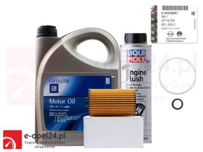 Oryginalny filtr oleju GM wraz z uszczelkami, 5l oleju GM 5W30 i płukanka Liqui Moly Opel Astra J K / Insignia A B / Meriva B / Mokka X / Zafira C - 1.6 CDTI - 650163 / 95526687 / 19 42 003 / 2640