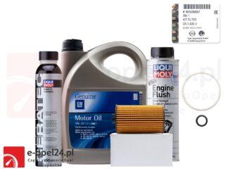 Oryginalny filtr oleju GM wraz z uszczelkami, 5l oleju GM 5W30, płukanka Liqui Moly i dodatego Cera Tec Opel Astra J K / Insignia A B / Meriva B / Mokka X / Zafira C - 1.6 CDTI - 650163 / 95526687 / 19 42 003 / 2640 / 7181