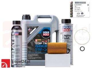 Oryginalny filtr oleju GM wraz z uszczelkami, 5l oleju Liqui Moly Top Tec 4600 5W30, płukanka Engine Flush i dodatek Cera Tec Opel Astra J K / Insignia A B / Meriva B / Mokka X / Zafira C - 1.6 CDTI - 650163 / 95526687