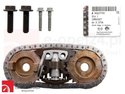 Oryginalny zestaw łańcucha rozrządu z napinaczem, prowadnicami, kołami zębatymi wałków rozrządu oraz śrubami montażowymi Opel Insignia A B / Zafira C - 2.0 CDTI - 95527799