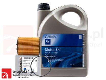 Oryginalny filtr oleju GM oraz 5L oryginalnego oleju GM 5W-30 Opel Astra G / Corsa C / Omega B / Signum / Vectra B C / Zafira A- 1.8 / 2.5 / 2.6 / 3.0 / 3.2- 650308 / 1942003