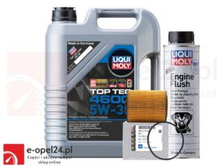 Oryginalny filtr oleju GM + 5L oleju LIQUI MOLY TOP TEC 4600 5W30 + płukanka Liqui Moly- Opel Astra G / Corsa C / Omega B / Signum / Vectra B C / Zafira A- 1.8 / 2.5 / 2.6 / 3.0 / 3.2- 650308 / 9192426
