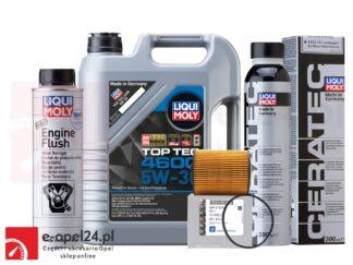 Oryginalny filtr oleju GM + 5L oleju LIQUI MOLY TOP TEC 4600 5W30 + płukanka Liqui Moly + Ceratec- Opel Astra G / Corsa C / Omega B / Signum / Vectra B C / Zafira A- 1.8 / 2.5 / 2.6 / 3.0 / 3.2- 650308 / 9192426