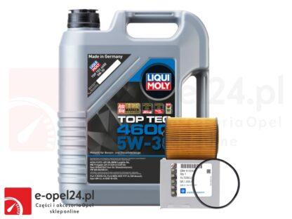 Oryginalny filtr oleju GM + 5L oleju LIQUI MOLY TOP TEC 4600 5W30- Opel Astra G / Corsa C / Omega B / Signum / Vectra B C / Zafira A- 1.8 / 2.5 / 2.6 / 3.0 / 3.2- 650308 / 9192426