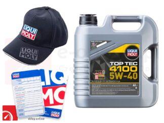 Olej syntetyczny Liqui Moly TopTec 4100 5W40 4L + Gratis czapka Liqui Moly i zawieszka serwisowa