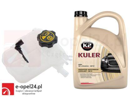 Zbiornik wyrównawczy płynu chłodniczego z czujnikiem poziomu płynu, korkiem i 5l płynu chłodniczego K2 - Opel Astra J - 1.3 / 1.4 / 1.6 / 1.7 / 2.0- 13 04 019 / 13 05 248