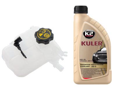 Zbiornik wyrównawczy płynu chłodniczego z czujnikiem poziomu płynu, korkiem i 1l płynu chłodniczego K2 - Opel Astra J - 1.3 / 1.4 / 1.6 / 1.7 / 2.0- 13 04 019 / 13 05 248
