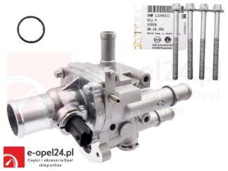 Kompletny termostat układu chłodzenia w zestawie z obudową, śrubami, uszczelką oraz czujnikami temperatury Opel Astra H III / Mokka / Signum / Zafira B 1.6 1.8 - 1338177 / 55577073