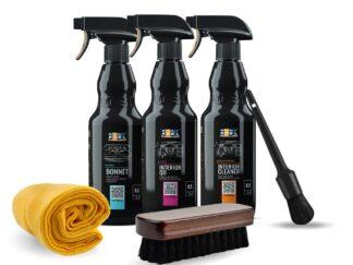 Zestaw kosmetyków marki ADBL do czyszczenia wnętrza, w tym tapicerki materiałowej - ADBL BONNET / INTERIOR CLEANER / INTERIOR QD