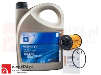 Oryginalny filtr oleju, olej GM 10W-40 i uszczelka korka miski - Opel Agila A / Astra G H / Corsa B C D / Meriva A / Tigra - 1.0 / 1.2/ 1.4 - 650307 / 1942046